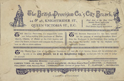 Advert for the British Provision Company, grocery store
